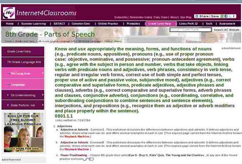 parts  speech eighth  grade english language arts