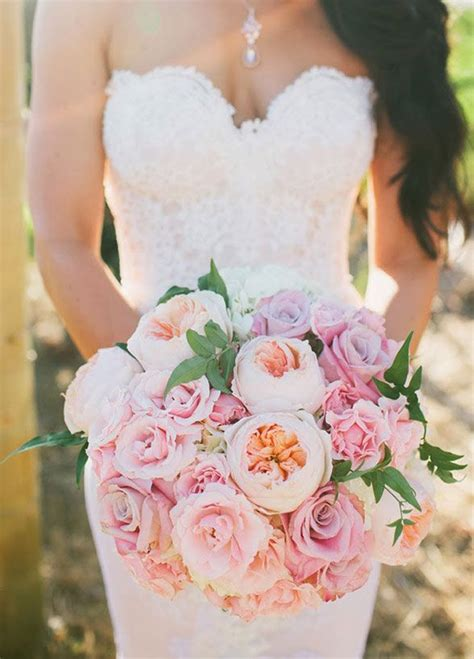 stunning mixed pastel colored bouquets wedding