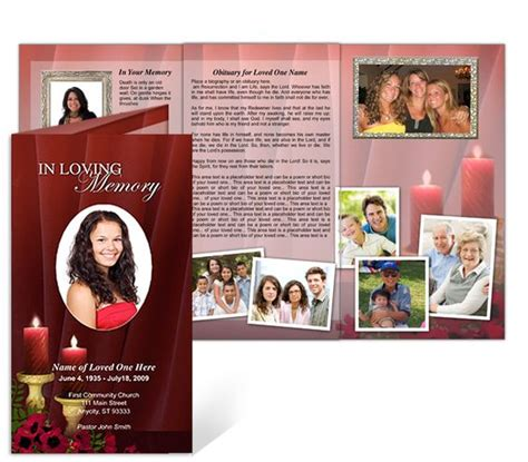 funeral brochure tri fold templates candlelight  great