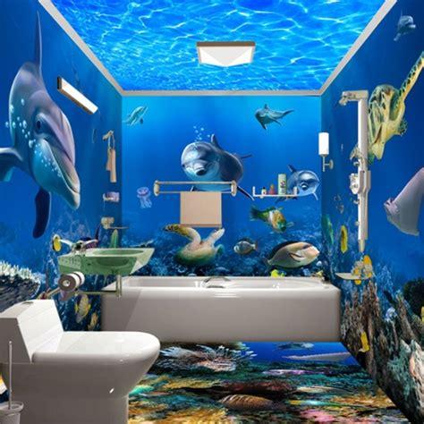 underwater animals  waterproof bathroom wall murals