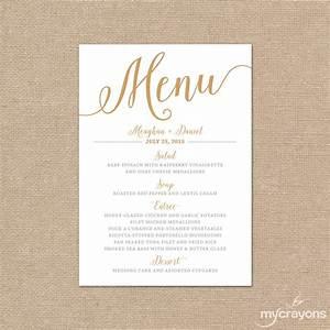 Gold wedding menu card printable wedding menu bella script for Images of wedding menu cards