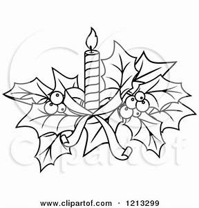 Clipart of Black and White Christmas Holly and a Candle ...