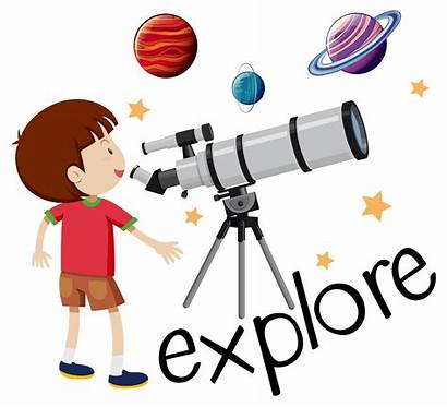 Explore Telescope Flashcard Through Looking Kid Vector