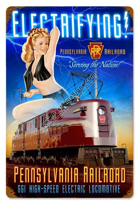 pennsylvania railroad pin  girl metal sign
