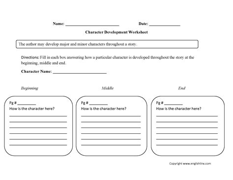 single character development character analysis worksheets