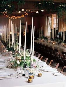 Dining, Tables, With, Tall, White, Candle, Centerpieces