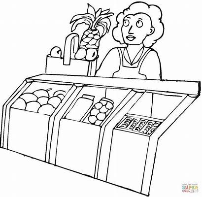 Grocery Coloring Seller Printable Pages Drawing Sheets