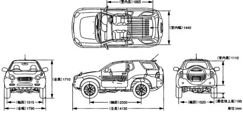 isuzu vehicross suv blueprints  outlines