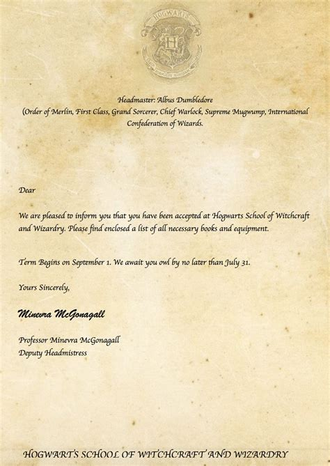 harry potter diy hogwarts acceptance letter httpswww