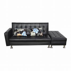 Homcom convertible corner sofa bed loveseat couch ottoman for Sectional sleeper sofa with storage and pillows