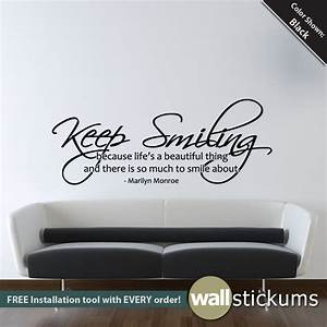 Marilyn monroe wall decal keep smiling quote by wallstickums