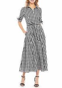 Calvin Klein Short Sleeve Gingham Midi Cotton Dress Belk
