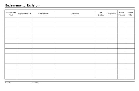 Environmental Aspects Register Template by Environmental Aspects Register Template Photos Gt Gt Iso