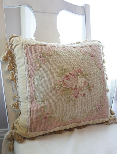 shabby chic curtains and cushions bellas rose cottage lovely old needlepoint pillow cottage country chic pinterest