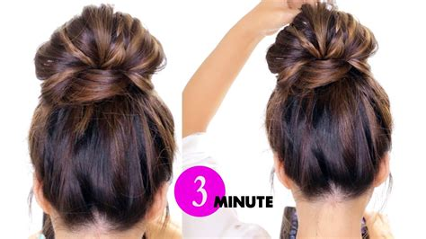 minute bubble bun  braids hairstyle easy