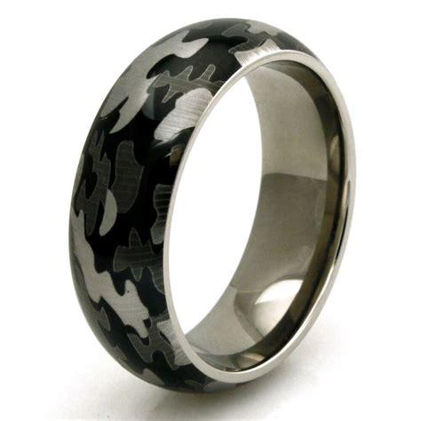 men s titanium snow camouflage camo design engravable wedding band ring ebay