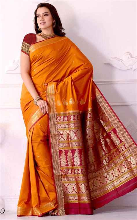 brick red yellow art silk traditional saree