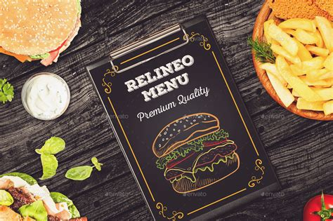 Menu mockups outlines are crucial in persuading clients. Fast Food Menu Mock-up Pack Vol.1 by relineo | GraphicRiver