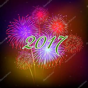 Happy new year fireworks 2017 holiday background design ...