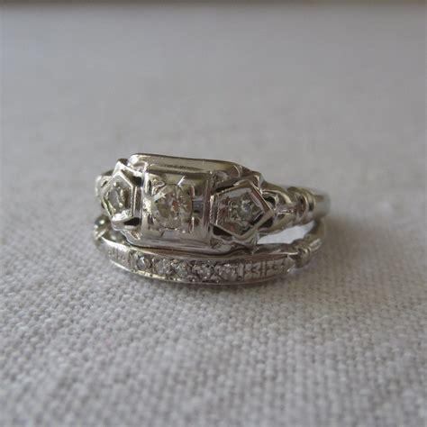 deco wedding set engagement ring wedding band diamonds