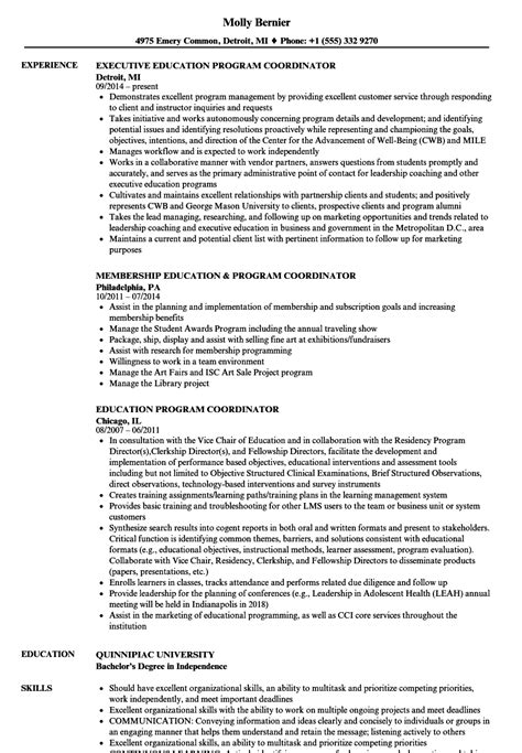 Program Coordinator Resume by Education Program Coordinator Resume Sles Velvet