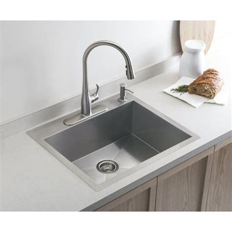 kitchen sink with kohler vault medium single 635mm x 559mm brushed steel