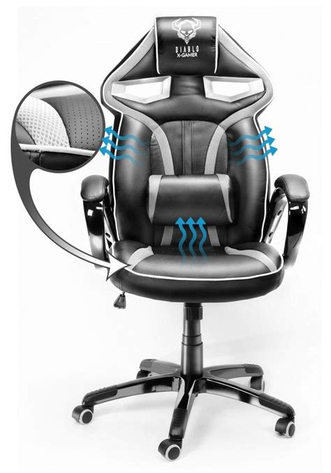 fotel gamingowy diablo  gamer  czarno bialy ergomeble