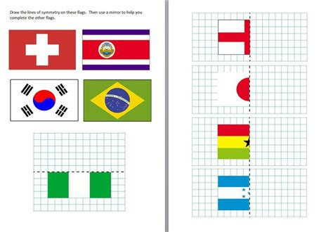 symmetry worksheets worksheets  flags  pinterest