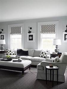 Traditional, White, Living, Room, With, Black, And, Gray, Accents, And, Modern, Patterns