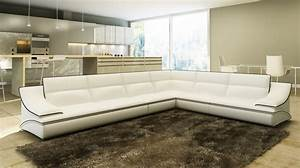 Canape Angle Cuir Blanc : deco in paris canape d angle cuir design blanc et noir roxa roxa 3a2 blanc et noir ~ Teatrodelosmanantiales.com Idées de Décoration
