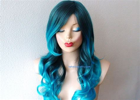 Turquoise Teal Ombre Wig Pastel Wig Long Curly Hairstyle Wig