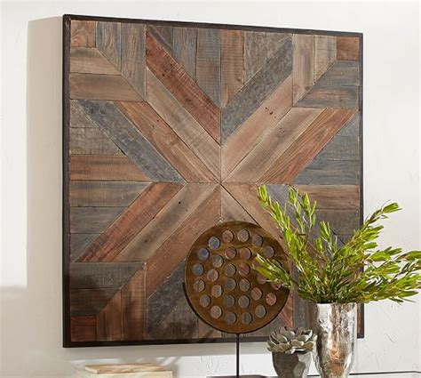 planked quilt square wall art pottery barn