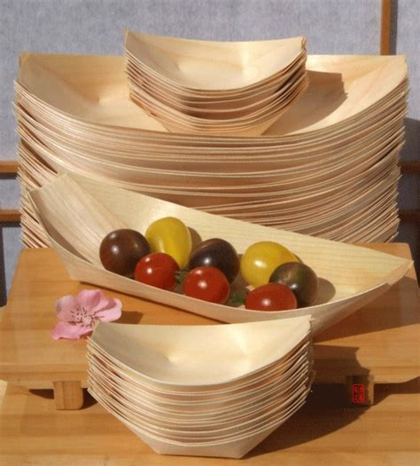 bamboo wood boats large standard for foods snacks
