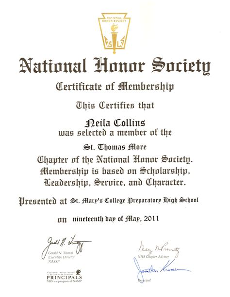 National Honor Society Certificate Template national honor society certificate of membership
