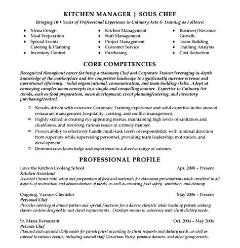 Curriculum Vitae For Sous Chef by Sous Chef Resume Template Free Sles Exles