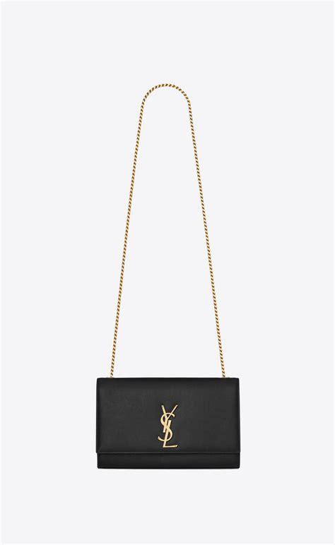 saint laurent medium kate chain bag  black textured leather yslcom
