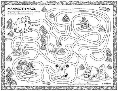 Maze Mammoth Printable Coloring Woolly Children Printables