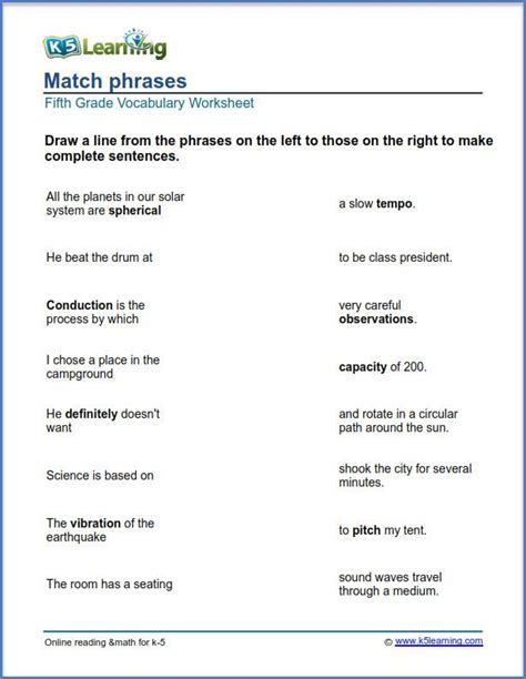 grade  english worksheets match phrases  learning