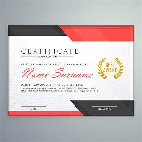 modern certificate design  geometric red  black