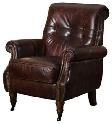 tufted distressed leather chair traditional armchairs and