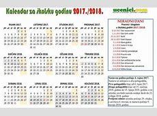 Školski KALENDAR 2018 s praznicima za 20172018 godinu!