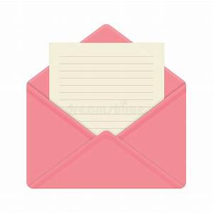 Letter In Open Pink Envelope. Stock Vector - Illustration ...