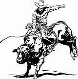 Coloring Bull Pages Riding Rodeo sketch template