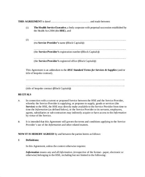 Service Provider Agreement Template by Client Confidentiality Agreement 9 Free Word Excel
