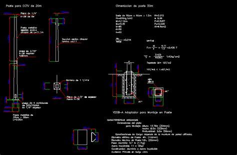 detail post  cctv  metros dwg detail  autocad designs cad