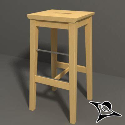 wooden stool ikea ikea stool wood 3d model
