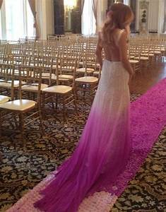 my purple ombre wedding dress and matching aisle runner With purple ombre wedding dress