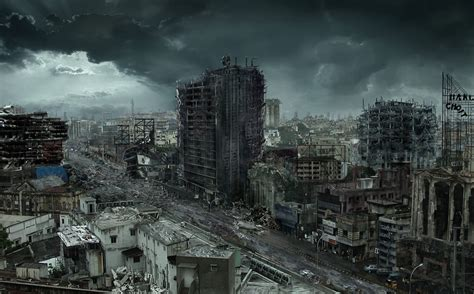 destroyed city matte painting   behance