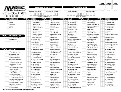 Mtg Deck Register Sheet by Magic The Gathering Printable Checklist Go