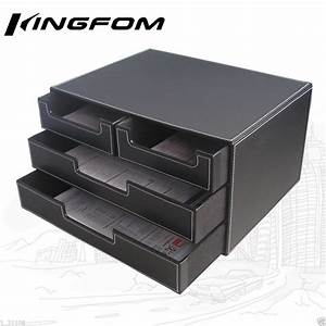 4 drawer 3 layer leather desk file cabinet file tray With document drawer organizer